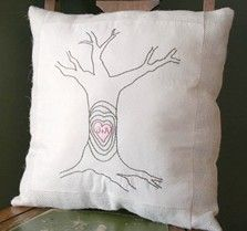 Carved Tree Embroidered Pillow