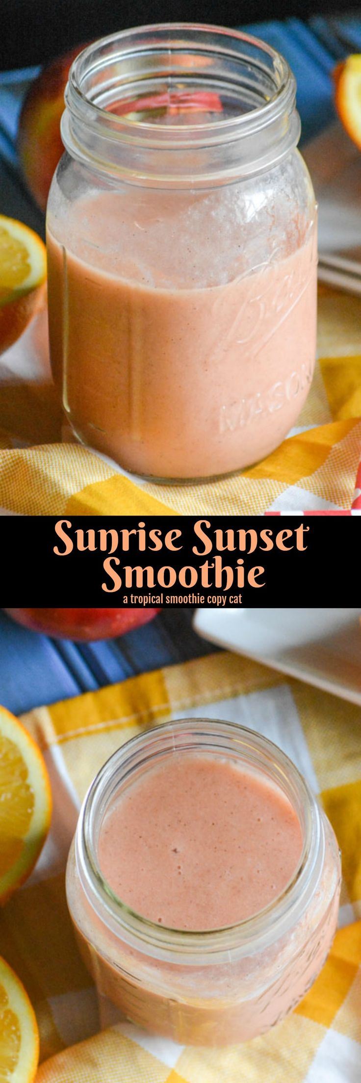 Copy Cat Tropical Smoothie Sunrise Sunset Smoothie | A quick and easy treat, featuring plenty of healthy fruit, this Copycat Tropical Smoothie Sunrise Sunset Smoothie is a spot on duplicate of your favorite cafe's frozen treat. An indulgent breakfast to share, a perfect dessert, even a special snack- this smoothie is what sweet memories are made of! | 4 Sons 'R' Us