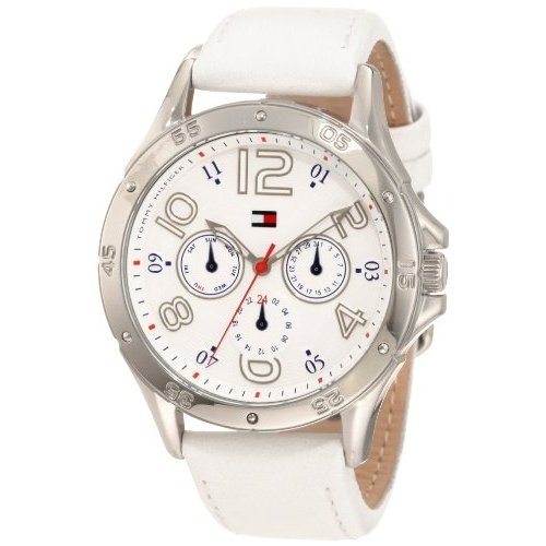 Tommy Hilfiger Women's 1781177 White Multi-Eye Dial Leather Strap Watch: Watches: Amazon.com