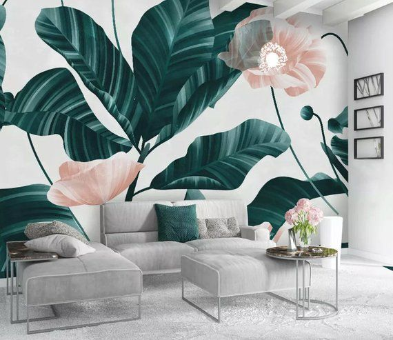 Powder Pink Flower And Leaves Textile Wallpaper Hunter Green Forest Wall Murals For Living Room Home Design Living Room Living Room Green Wallpaper Living Room