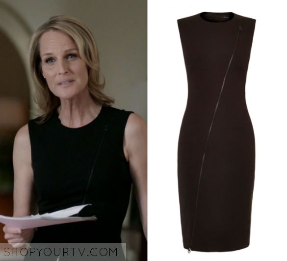 "Shots Fired: Season 1 Episode 7 Patricia's Black Zip Front Dress | Shop Your TV Patricia Eamons (Helen Hunt) wears this black sleeveless zip front dress in this episode of Shots Fired, ""Hour Seven: Content of Their Character"".  It is the Karen Millen Zip Detail Dress."