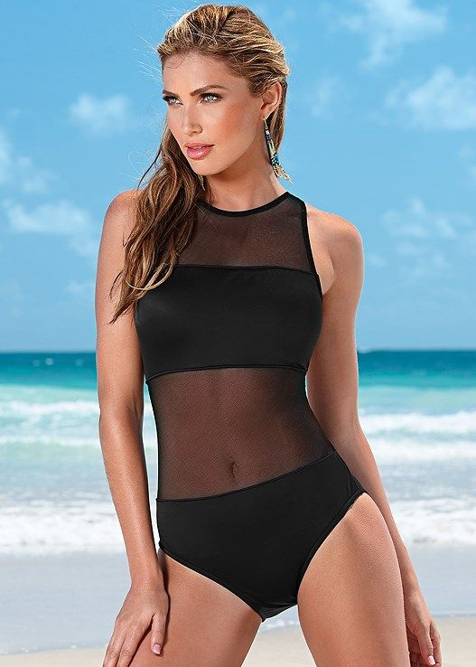 7c84b0d012 Venus Women s Mesh Tank One-Piece Swimsuit - Black