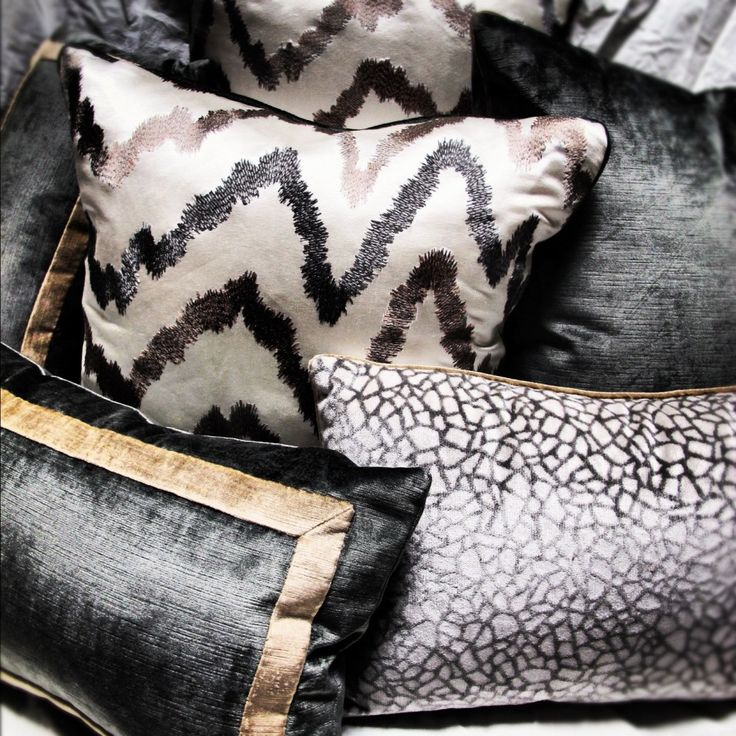 LOVE the mix: Custom Neutral Metallic Pillows by Pulp Design Studios