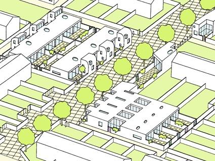 Town Farm Estate - Hailsham  (for Warden Housing Association)    The scheme outlined the replanning and design of 3 sites on the Town Farm Estate.     THE  SITE 2.
