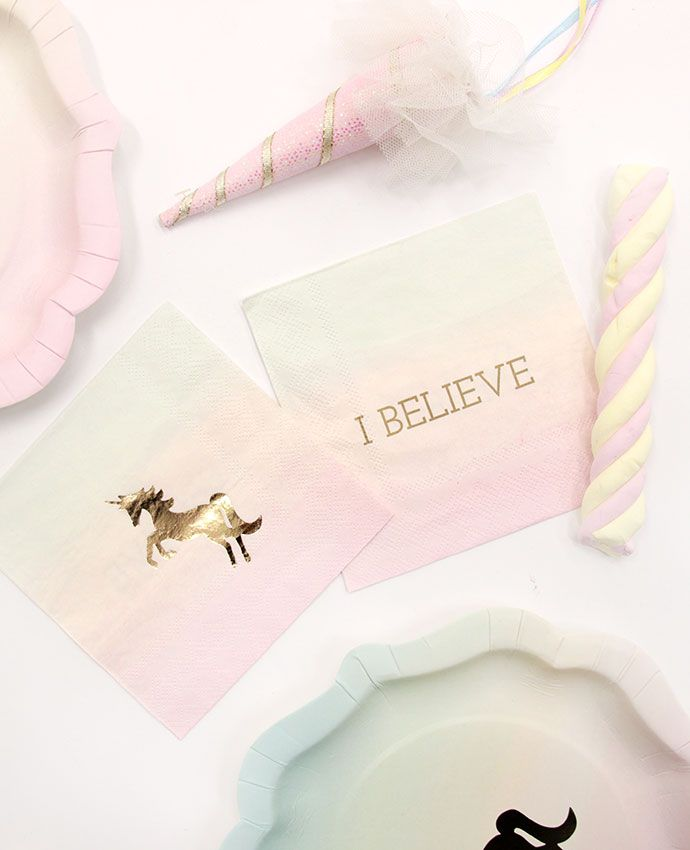 We do believe in unicorns! These napkins would be perfect for your unicorn birthday party. Browse even more unicorn party ideas on our blog.