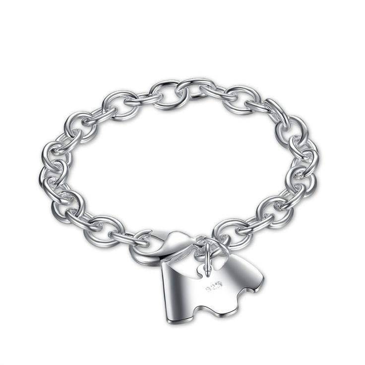 Free Shipping 925 Silver Charm Bracletes Shrimp Buckle Dog Cards Fashion Jewelry For Women High Quality Nickel free H271