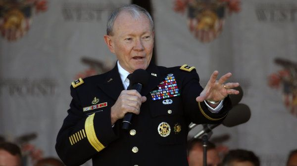 """Joint Chiefs Chairman Gen. Martin Dempsey speaks during the graduation ceremony at the U.S. Military Academy at West Point, N.Y., on May 23. In an interview with NPR, he says he's not surprised by the slow going against the Islamic State, predicting it will be a """"long campaign."""""""