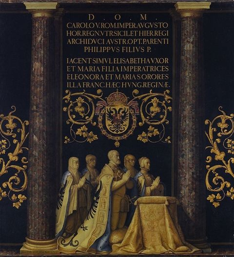 Pantoja de la Cruz draw of Charles V Cenotaph alongside his wife, Isabella of Portugal, and his sisters. In the Basilica, Real Monasterio de San Lorenzo de El Escorial.