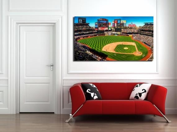 Ny Mets Citi Field Wall Canvas Art 36x 20 Gorgeous Panoramic Etsy Wall Canvas Canvas Wall Art Canvas Art