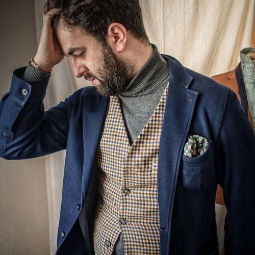 紺ジャケット×チェックジレ×グレータートルネック | メンズファッションスナップ フリーク | 着こなしNo:93035