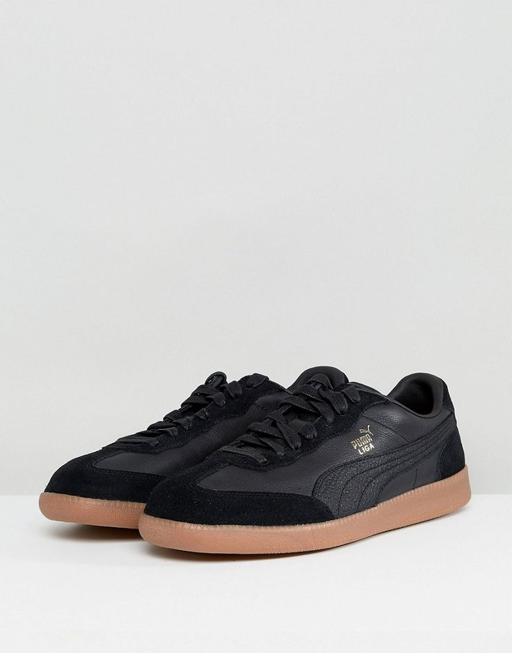 Puma Liga Leather Sneakers In Black 36459702 - Black