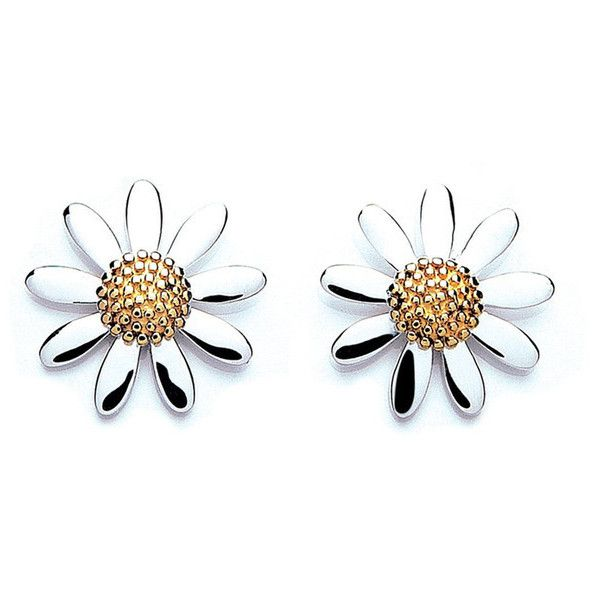 DAISY LONDON Womens Silver 7mm Daisy Stud Earrings ($44) found on Polyvore