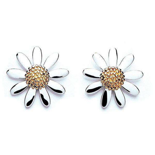 DAISY LONDON Womens Silver 7mm Daisy Stud Earrings found on Polyvore