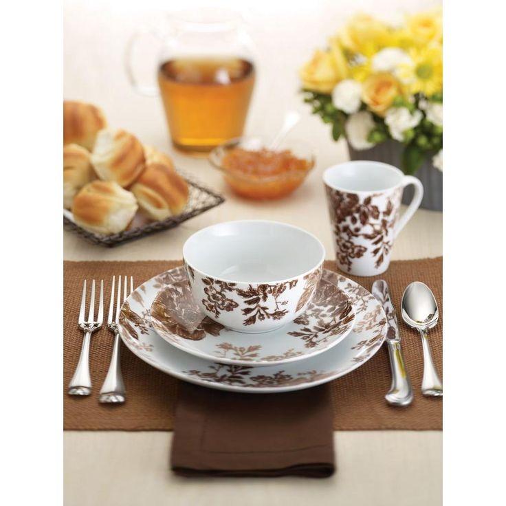 Tatnall Street Brown 16-Piece Dinnerware Set