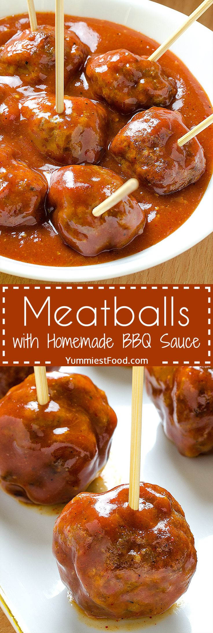 Meatballs with Homemade BBQ Sauce - such simple and easy meatball recipe! Super tasty and perfect for game day! Meatballs with Homemade BBQ Sauce - extremely delicious!
