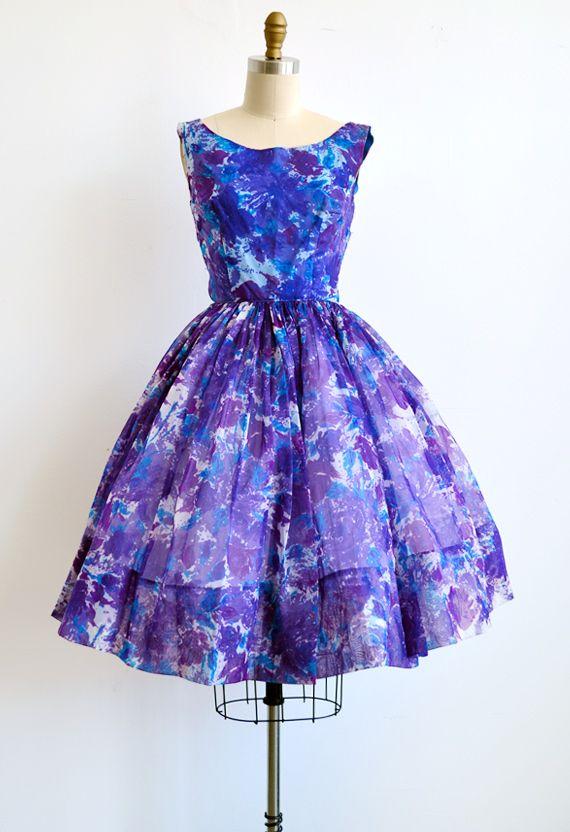 vintage 1950s Mad Men party dress [Watercolored Violets Dress] - $128.00 : ADORED | VINTAGE, Vintage Clothing Online Store