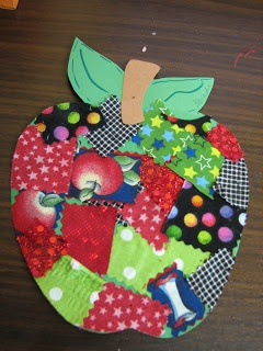 Fabric Scraps Apple  - could do fabric scrap shirt. @Korie Bellamy Danielczyk Radcliff @Laurel Wypkema Cook   Isn't that cute???
