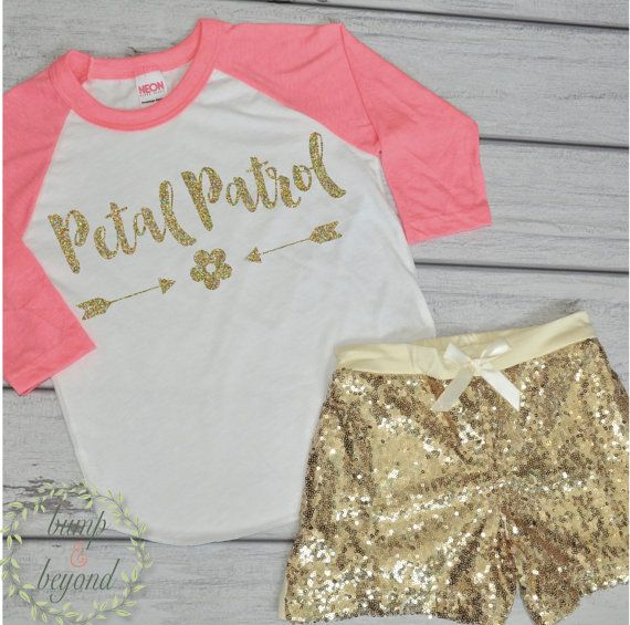 Petal Patrol Flower Girl Outfit. This adorable shirt and shorts set makes a great wedding rehearsal outfit for your flower girl! We at Bump and Beyond Designs love to help you celebrate life's preciou