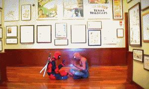Deadpool and Spider-Man play patty-cake... lol