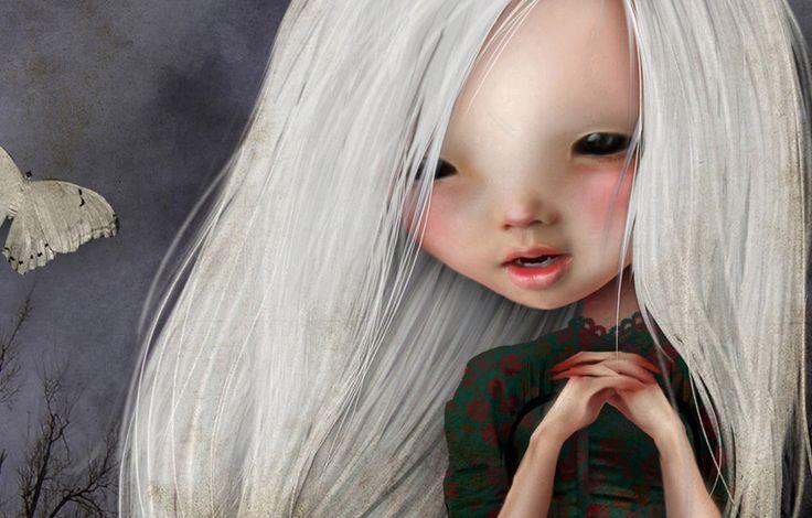 5x7 Art Print - 'Pelottava' - Little Vampire girl in graveyard - Small Sized Fine Art Giclee Print - Jessica von Braun- Dark Art Creepy cute by solocosmo on Etsy https://www.etsy.com/listing/79203470/5x7-art-print-pelottava-little-vampire