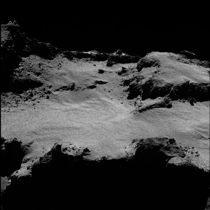 OSIRIS narrow-angle camera image taken on 3 July 2016, when Rosetta was 11.2 km from the centre of Comet 67P/Churyumov–Gerasimenko. The scale is 0.20 m/pixel at the comet and the image measures about 410 m.   Copyright ESA/Rosetta/MPS for OSIRIS Team MPS/UPD/LAM/IAA/SSO/INTA/UPM/DASP/IDA