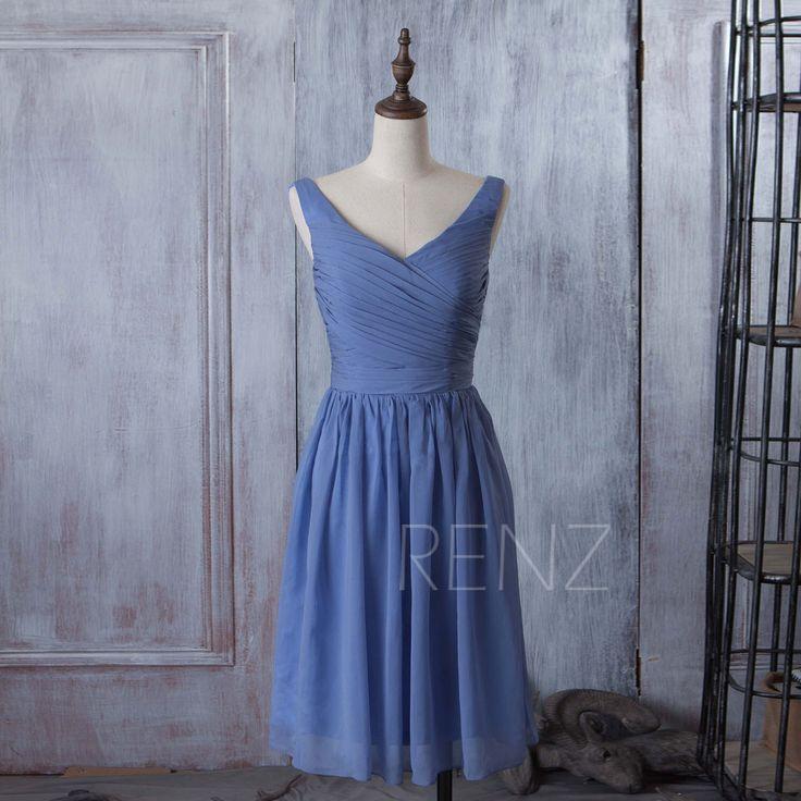 2016 Slate Blue Bridesmaid dress, Short Wedding dress, Chiffon Party dress, Formal Dress, Prom dress, Evening dress tea length (B059A)-RENZ by RenzRags on Etsy https://www.etsy.com/listing/233245722/2016-slate-blue-bridesmaid-dress-short