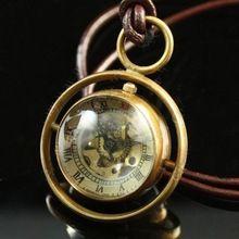 steampunk stijl messing glazen bol orb bol mechanische zakhorloge ketting(China (Mainland))