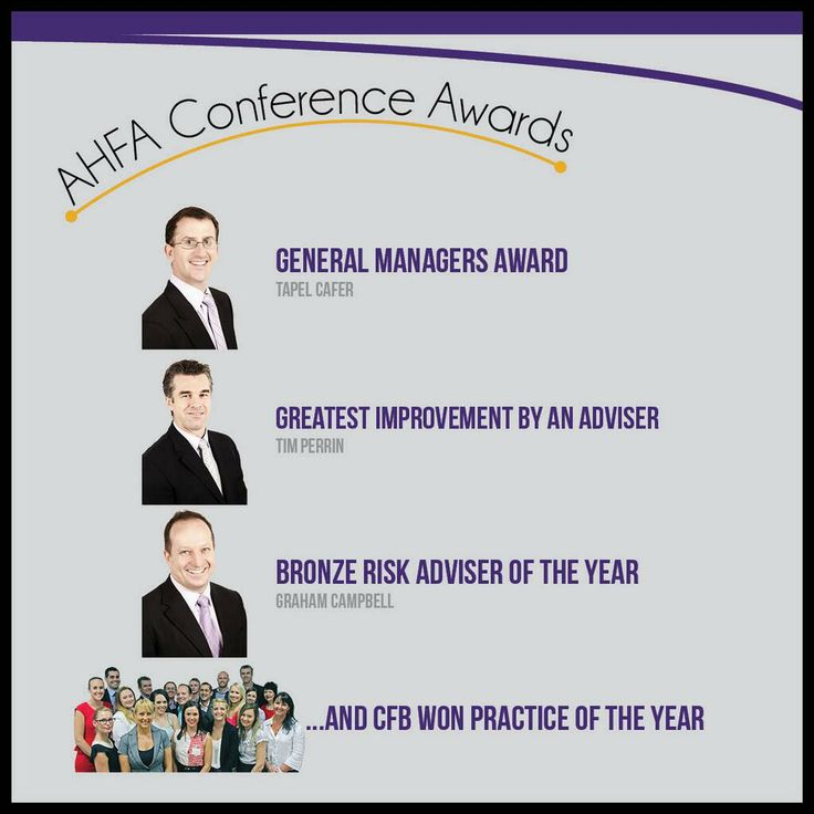We won!   The Advisers and the CFB Team scooped up a range of awards at this year's AHFA Conference    Tapel Cafer- General Managers Award Tim Perrin- Greatest Improvement by an Adviser   Graham Campbell- Bronze Risk Adviser of the Year    And Complete Financial Balance for Practice of the Year!