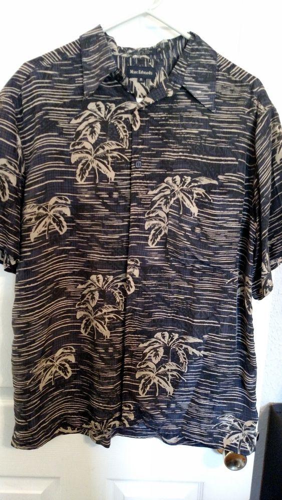 Marc Edwards Men's Shirt Brown 100% Silk Short Sleeve Size M #MarcEdwards #ButtonFront
