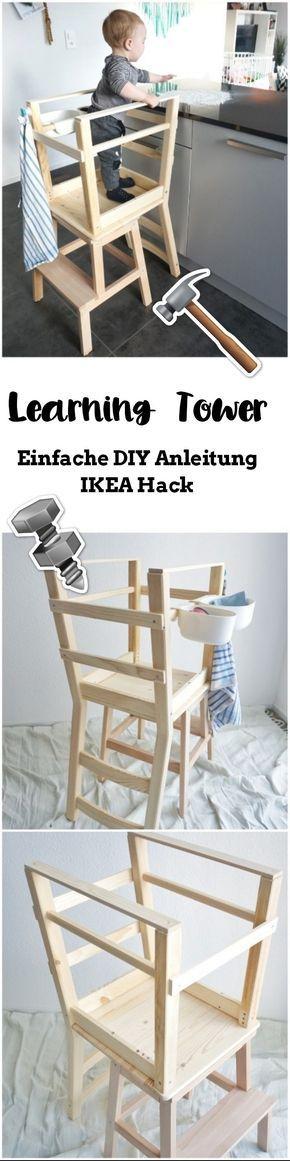 Eine einfache Learning Tower / Lernturm Bauanleiting aus den zwei IKEA Möbel BEKVÄM und IVAR. Auch für handwerliche Anfänger geeignet.