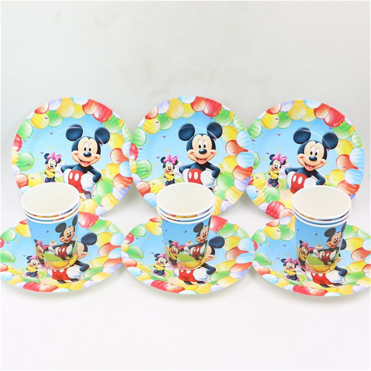 20pcs paper dish+20pcs cup mickey mouse printed disposable tableware set 40pcs/lot cartoon theme party