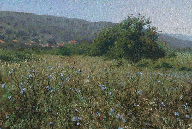 Eastern slopes of Balkan Mountains  2012, oil on canvas on hardboard, 20x29,5, landscape painting by Daniil Belov