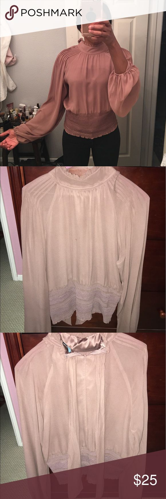Guess Marciano top large Mauve color 100% silk, 2 small perfume marks on front, Not noticeable Guess by Marciano Tops Blouses