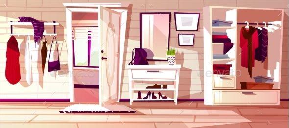 Vector Hallway with Open Door Anime backgrounds wallpapers Anime background White doors