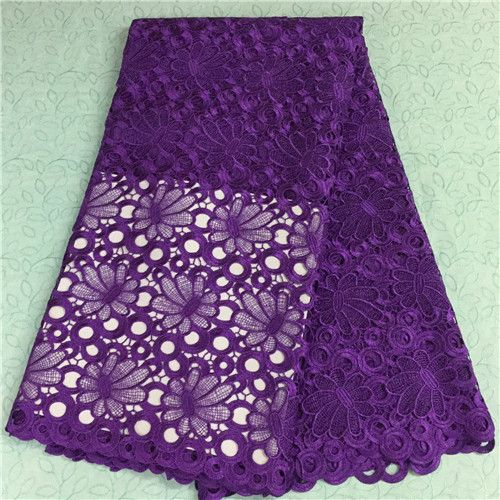 2016 purple African guipure lace fabric bronzing Nigerian mesh cord lace water soluble for sewing wedding dress 5yards YJ16-25