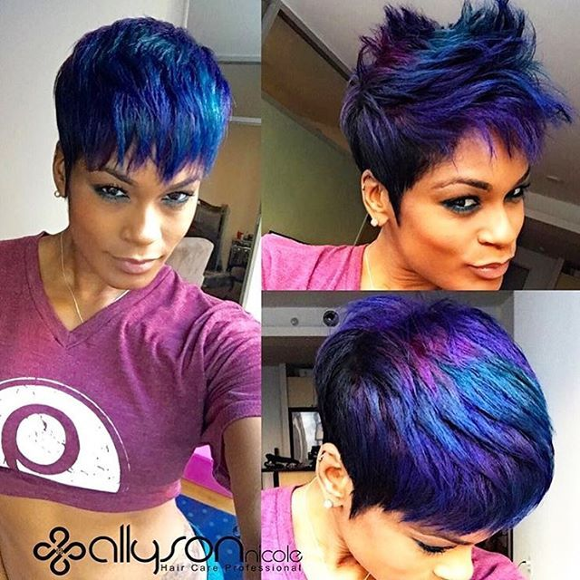 STYLIST FEATURE| In love with this metallic blue #pixiecut styled by #dallasstylist @1girlabouthair Fierce cut and color✂️ #voiceofhair ========================== Go to VoiceOfHair.com ========================= Find hairstyles and hair tips! =========================