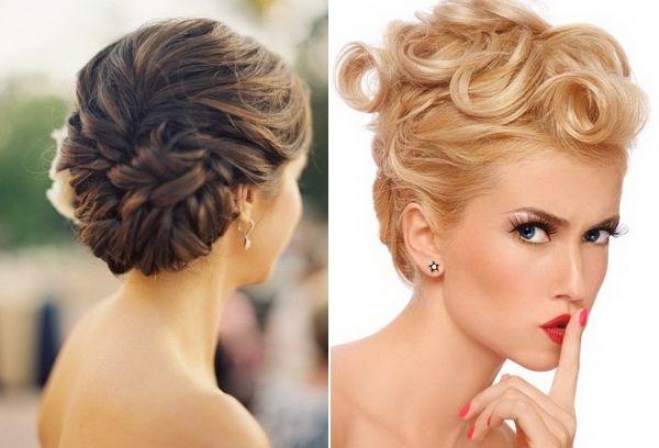 Pour cette occasion unique, voici deux jolies coiffures relevées. La jeune femme aux cheveux marron porte un chignon savamment réalisé à l'arrière de sa tête, tandis que la jeune femme aux cheveux blonds a pour sa part opté pour l'originalité en enjolivant le dessus de sa tête de grosses boucles.