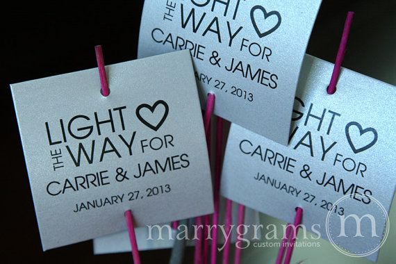 Sparkler Tags - Light the Way - Wedding Favor Tags Script Custom with Names and Date - Sparklers Tiffany Blue, Pink (Set of 24)