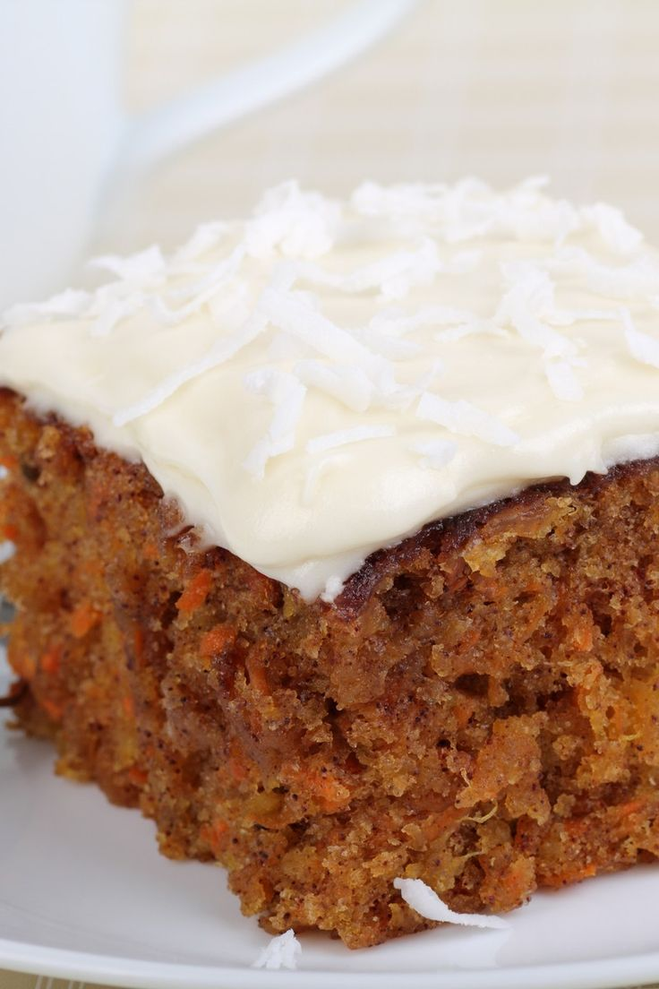 Carrot Pineapple Cake Recipe - Homemade cake with carrots, pineapple, walnuts topped with cream cheese frosting
