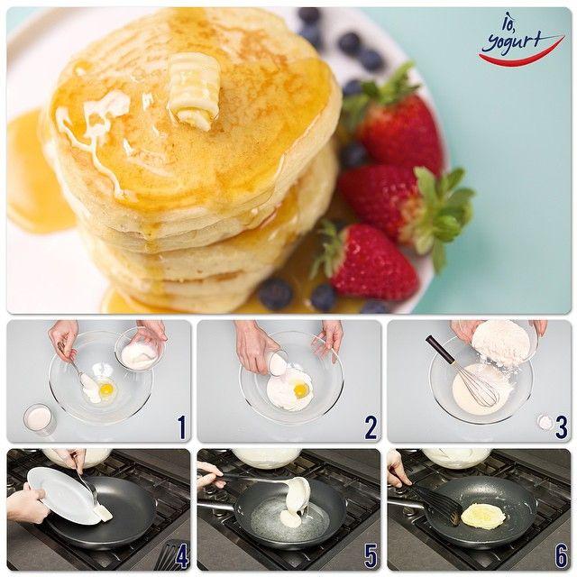"""Pancakes allo yogurt #IOYOGURT #food #ricette #cucina #yogurt #colazione #breakfast [1 vasetto di yogurt, 250g di farina, 1 uovo, 1/2 cucchiaino di…"""