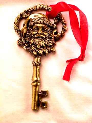 "Santa Key...this is what I need to explain how Santa gets in the house to my son! 4yr old is already posing the questions ""how does he get in?"" I remember asking the same, yet I was 7! Mom told me he has a skeleton key since not everyone has chimneys! I'm 35 and still remember having that talk!"