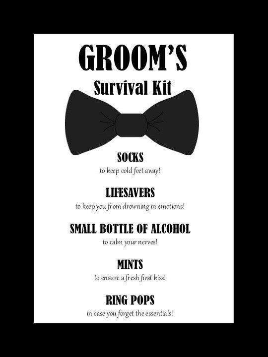 SALE  Groom's Survival Kit Printable by BlingSparklesOhMy on Etsy! #groom #wedding #weddingday #weddinggifts