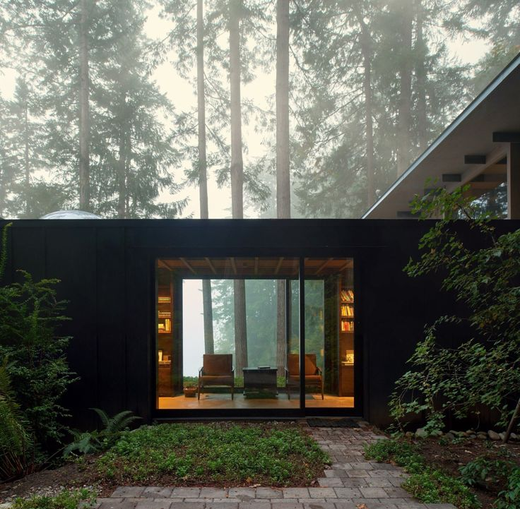 archatlas:  Cabin at Longbranch Olson Kundig Jim Olson 's reverence for nature and admiration of the site's beauty is expressed in the design of this project located on Puget Sound and nestled amidst the towering fir trees of an ancient forest. What began as a 14-foot-square bunk house built in 1959 has morphed through subsequent remodels in 1981, 1997, 2003 and 2014 into a modest yet highly livable weekend retreat. Each successive addition and remodel has reused and integrated the previous…