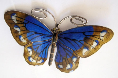 Marius Hammer Silver and Enamel Butterfly Brooch