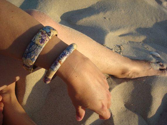 Wooden Decoupage Bracelet Purple braceletFloral Bangle by Valelval