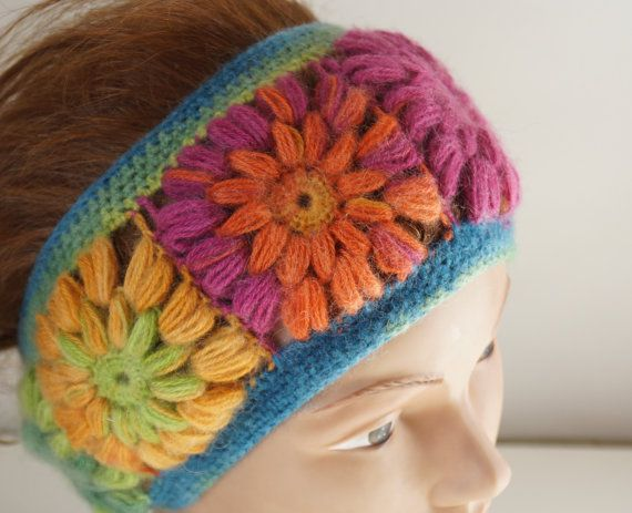 Forest Headband Winter Headband Colorful band Mohair by Periay, $30.00