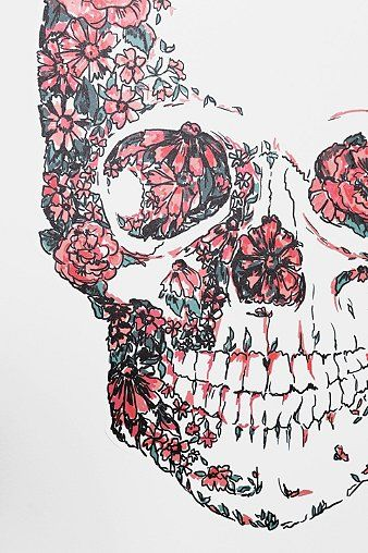 Floral Skull Wall Decal