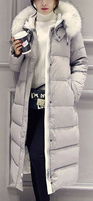 White Down Winter Coat Clothing Length: Long Closure Type: Zipper Filling: White duck down Fabric Type: Broadcloth Hooded: Yes Down Content: 90% Sleeve Length: Full Material: Down,Polyester *** Runs s