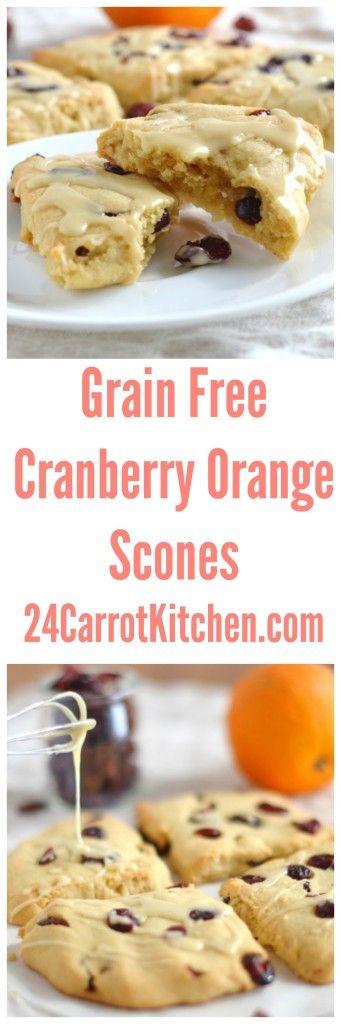 Click for the recipe - Grain Free Cranberry Orange Scones!  grain free, gluten free, dairy free, paleo, scones, breakfast, brunch 