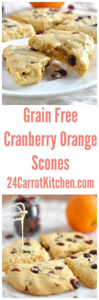 Click for the recipe - Grain Free Cranberry Orange Scones! |grain free, gluten free, dairy free, paleo, scones, breakfast, brunch|